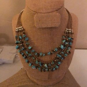 Jewelry - Turquoise silver and gold bib necklace